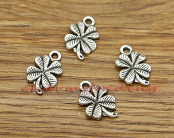 50pcs Clover Charm Good Luck 4 Leaf Clover Charm Antique Silver Tone 11x17mm cf3133
