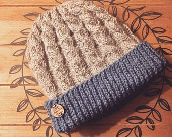 Two color Mens cable knit beanie, Mens knit hat, Mens winter hat,