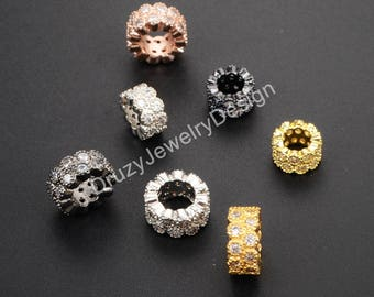 5pieces,CZ Beads,Micro Pave Beads,Large Hole Beads,Tube Beads,Cubic Zirconia,Slider Beads,Bracelet Charms,Jewlery supplies,WX418