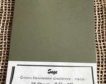 Sage Green Smooth Heavy Weight 110 lb Cardstock Paper 8.5 x 11 25 Sheets QUALITY