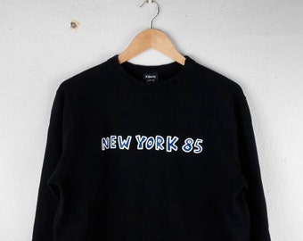 RARE!!! K HARING Pop Art New York 85 Big Logo Crew Neck Black Colour Sweatshirts Hip Hop Swag M Size