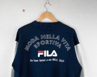 RARE!!! FILA Moda Nella Vita Sportiva Big Logo Multicolour SpellOut Crew Neck Raglan Colour Sweatshirts Hip Hop Swag L Size