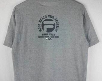 RARE!!! Fila Biella Italia Big Logo SpellOut Crew Neck Grey Colour T-Shirts L Size