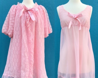 1960s peignoir set/ lingerie set/pink/ lace/bows/betty draper/size small