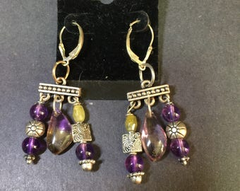 Amethyst Ametrine Dangle Earrings