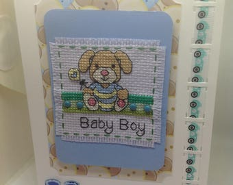 Completed cross stitch card new baby boy