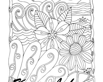 Ready For Summer, 1 Adult Coloring Book Page, Printable Instant Download