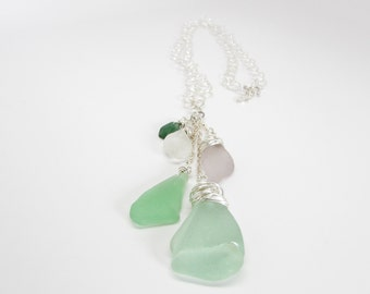 Sea Glass Waterfall Necklace in Soft Spring
