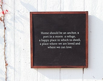 Home Should Be a Port, Home Decor, Quote, Framed Wooden Sign, Farmhouse Decor, Rustic Sign, Wood Sign, Wall Hanging, home quote, home sign