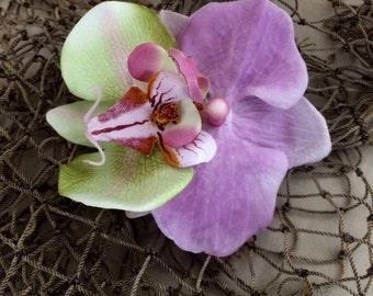 Tropical orchid silk flower hair clip