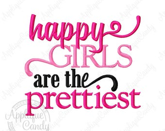 Happy Girls are the Prettiest Embroidery Design 4x4 5x5 5x7 6x10 8x8 Audrey Hepburn INSTANT DOWNLOAD