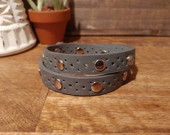 Grey, double-wrap bracelet, with small hole punches & chrome rivets // upcycled belt