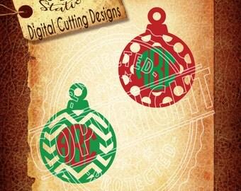 Christmas svg Ornament svg Monogram SVG DXF PNG and Eps Instant Download Digital Vector Cut File  Scrapbook Htv Silhouette Cricut