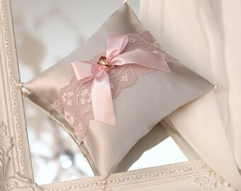 dusty rose lace and gray atlas ring bearer pillow, dusty rose ring bearer, dusty rose wedding ring pillow, dusty pink wedding ring pillow