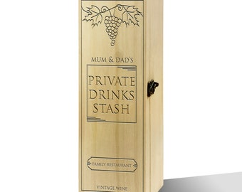 Personalised Private Drinks Stash Luxury Wooden Wine Box