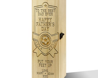 Personalised To The Best Dad Ever Luxury Wooden Wine Box