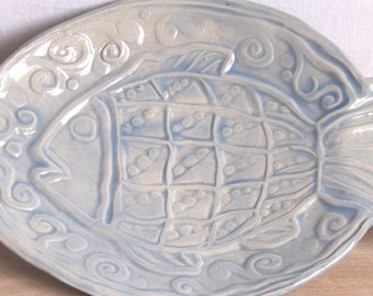 Fish shaped dish etsy for Fish shaped plates