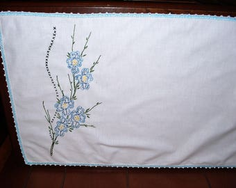 TWO) Dining Room Table Runner.  Dresser Scarf.  Embroidered.  Blues.