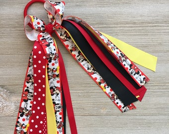 Minnie Mouse Hair Bow Ponytail Streamer, Minnie Mouse Red and Black, Minnie Mouse Ponytail Streamer, Minnie Mouse Birthday