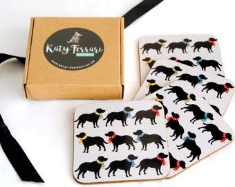 Labrador Coasters,  Fathers Day Gift, Black Labrador Drinks Mats, Set,  Black labrador, lover gift, mom gift.  Black labrador kitchenware.