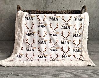 Little Man Minky Baby Blanket - Crib Blanket - Twin Blanket