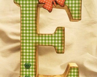 """Monogram Letter """"E"""" - Shabby Chic Free Standing Wooden Letter - Vichy Green&White, Decoupage, Hand Painted - Nursery Decor - Lady's Gift"""