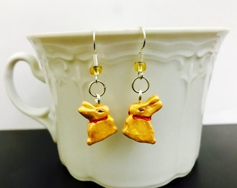 Gold Bunnies Earrings, Polymer Clay Jewellery, Silver Plated Earrings, Handmade Miniature, Easter gift for you or loved ones.