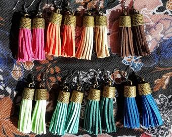 Handmade tassle earrings, fringe earrings, suede fringe, dangle earrings, summer accessories, spring accessories