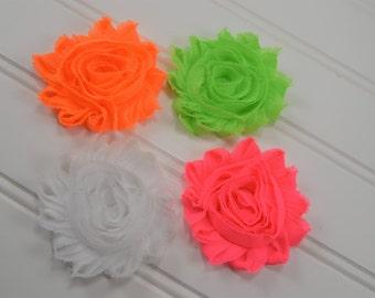 Shabby Flower Hair Clip-Flower Barette-Neon Hair Clips-Neon Green Clip-Neon Orange Clip-Neon Pink Clip-White Clip-Brigh Hair Bows-Hair Clip