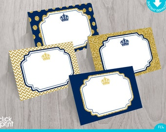 Prince Baby Shower or Birthday Navy Blue Gold Glitter Print Yourself Food Tent Cards, Printable Prince Place Cards, Prince Party Decoration