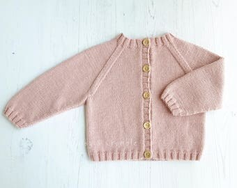 Hand knitted baby cardigan-cream/pink/blue/purple/green/grey baby cardigan-merino wool cardigan-hand knitted baby clothes-MADE TO ORDER