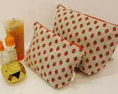 Strawberry washbag & makeup bag handmade gift set