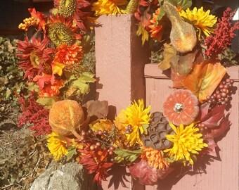 Fall wreath, autumn wreath, harvest wreath