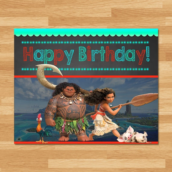 Moana Happy Birthday Sign - Chalkboard - Moana Birthday Poster - Princess Banner - Moana Printable - Moana Party - Moana Party Favors