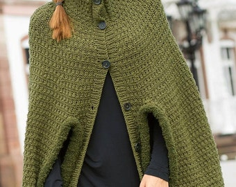 Womens knitted cape poncho, Cloak shawl, Braided cape knit , Shrug bolero made to order, Custom made wool poncho