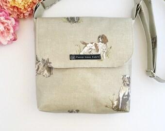 Spaniel bag, dog print purse, dog purses, dog gifts, dog walking bag, fabric purse, crossbody bags, crossbody purses, spaniel gifts