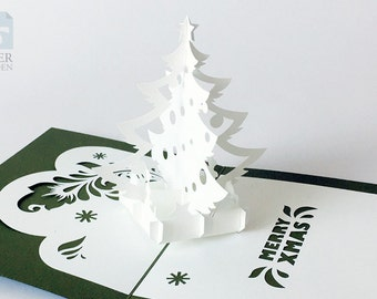 "Papercut Template Pop-up Card ""Christmas Tree"", Instant Download, Cut&Glue Own 3d Pop-up Card 180 deg"