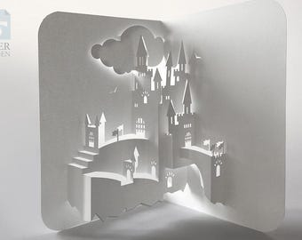"Papercut Template Pop-up Card ""Castle"", Instant Download, Cut&Glue Own 3d Pop-up Card 90 deg"