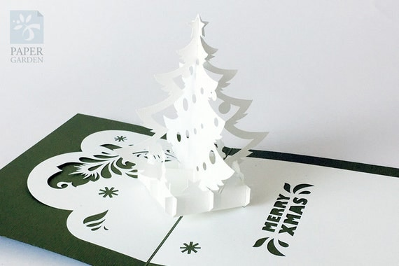 Papercut template pop up card christmas tree instant for Pop up storybook template