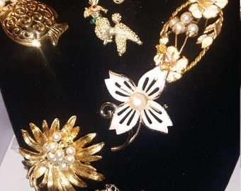 A lot of 7 beautiful Brooches for the past, gold tones,vintage settings and designers for one great price.