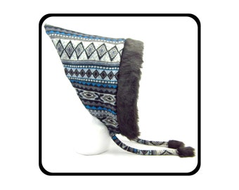 Pointed pixie hood with black faux fur trim. Blue and grey Cherokee pattern. Pointy hat. Festival accessories. Clothing. Quirky. Hippy.