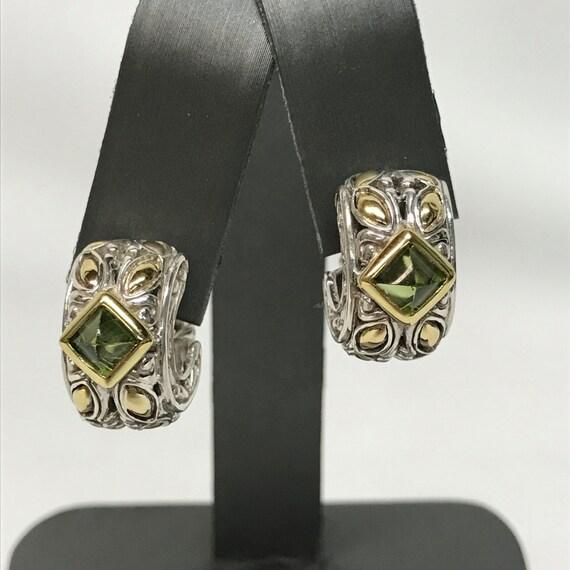 JOHN HARDY J-Hoop Earrings - Green Peridot, Sterling Silver, & 18k Gold! LOOK!