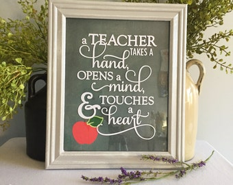 Teacher Gift/Framed Saying/8x10/Teacher Appreciation/Apple/Framed Teacher Quote/Education Major Gift/Back to School/Wall Hanging/Wall Decor