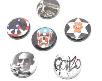 Hunter S. Thompson button set, Hunter Thompson pin, Fear and Loathing Badges