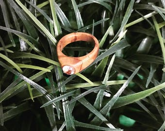 wooden ring with swarovski crystal