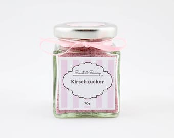 Cherry sugar 70 g, Kirsch Zucker, cherries, sugar, ideal as a gift for the birthday, confirmation, communion for you
