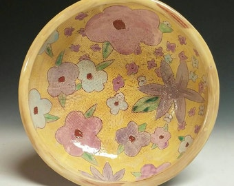 Large floral serving bowl - earthenware