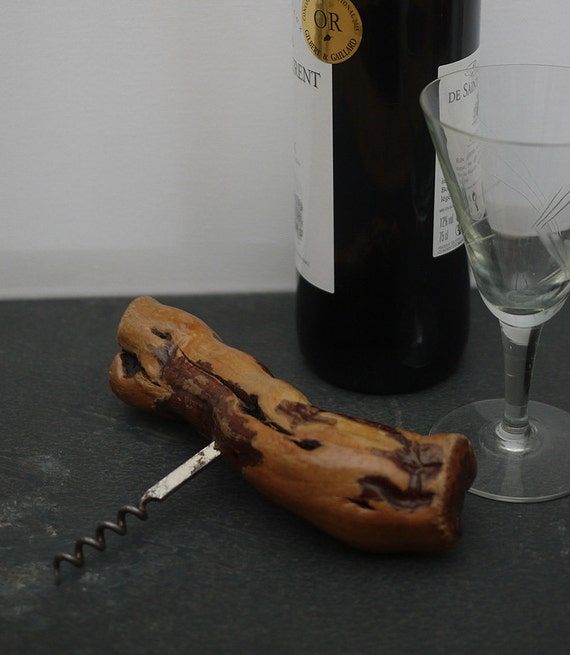 French Vintage Grapevine Corkscrew Corkscrew, Spectacular Wood   Handled  Sommelier Corkscrew, Great Display For Your Bar