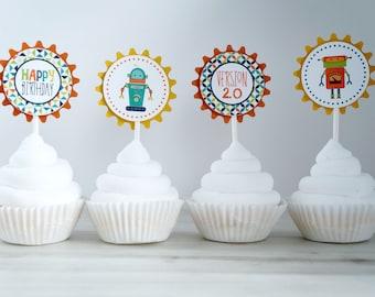 Robot Cupcake Toppers, Robot Cupcake Stick, Robot  Party Pick, Robot Birthday, Green Robot, Robot Party- SET OF 12
