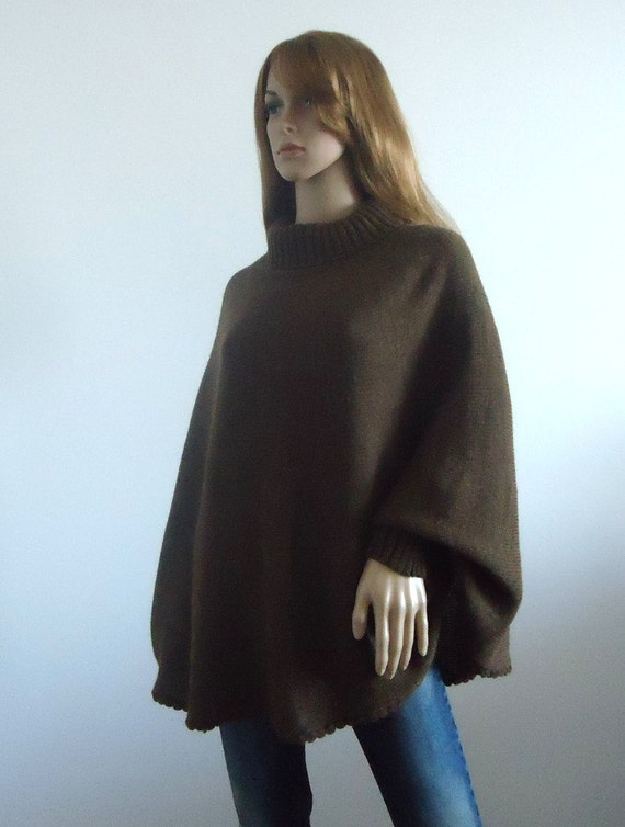 Cozy sweater turtleneck poncho brown Loose fit  Loose knit women sweater Hand knitted Women's Clothing knitted jumper 100% hand made